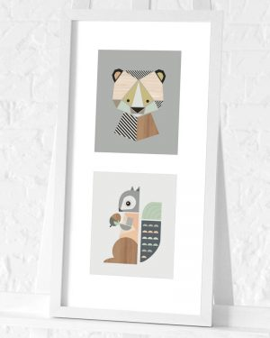 Bear and Squirrel preframed print