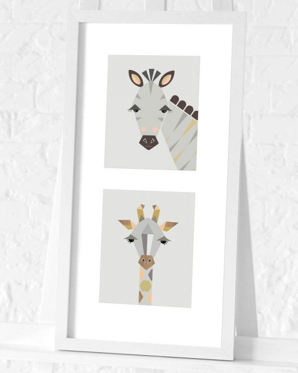 Zebra and Giraffe preframed print