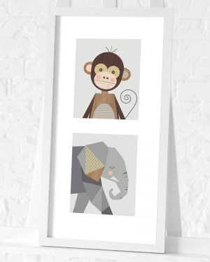 Monkey and Elephant preframed print